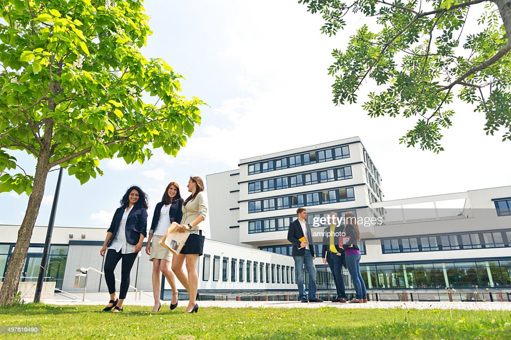 group of students on campus : Stock Photo