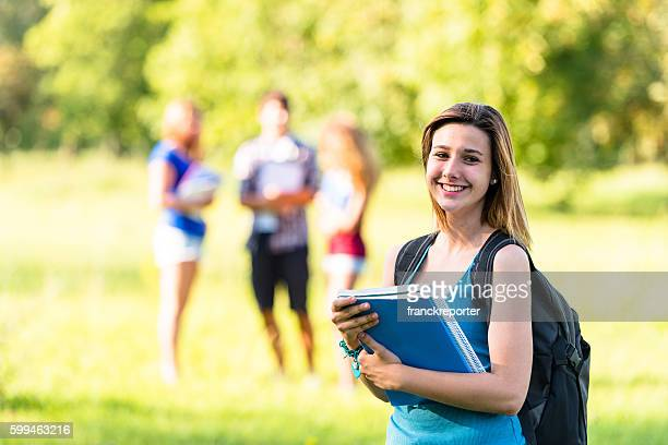 group of students on the park - 18 19 years stock pictures, royalty-free photos & images