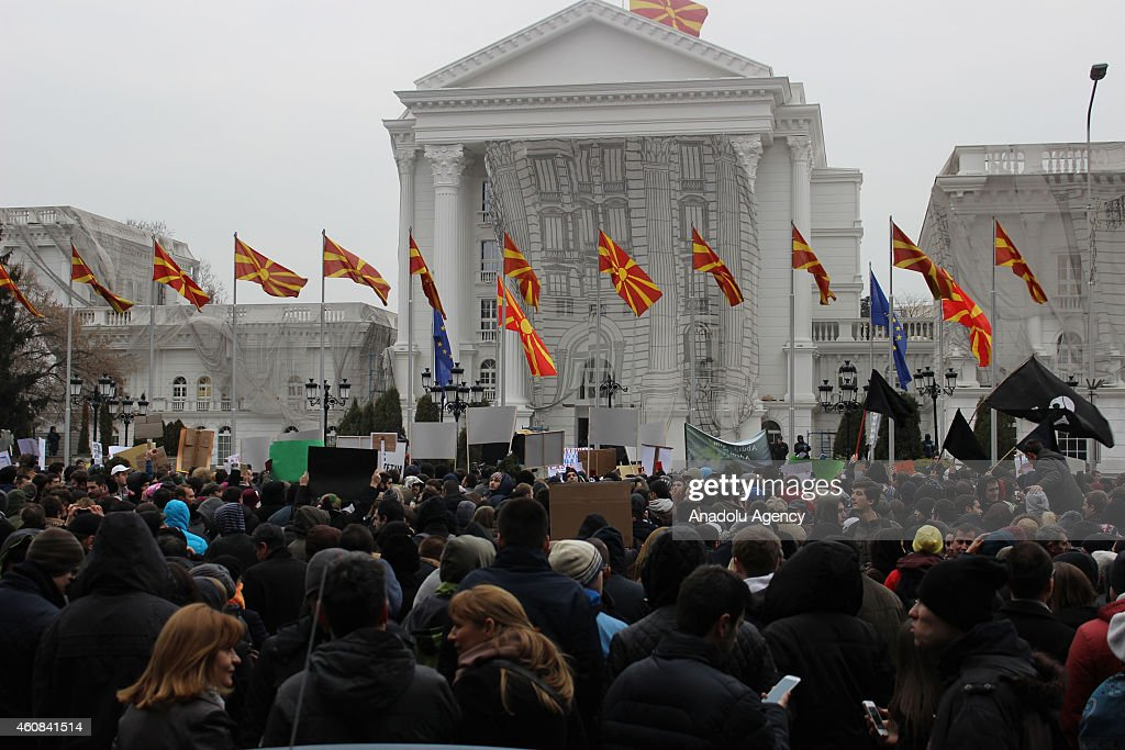 Students protest government's testing system plan in Skopje : News Photo