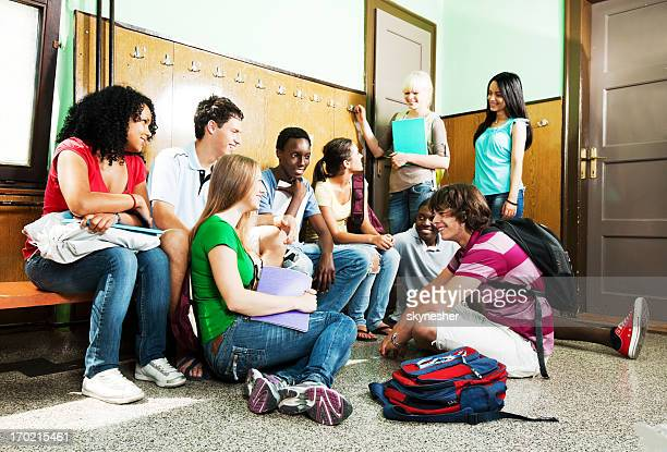 Group of students relaxing during the school break.