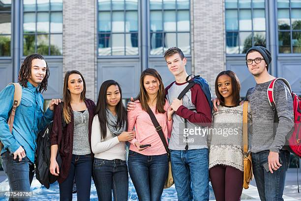 Group of students standing in a row outdoors