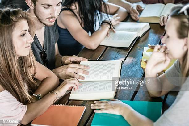 Gruppe von Studenten lernen zusammen