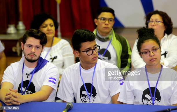A group of students take part in a press conference after the 4th edition of the socalled national dialogue talks with government's representatives...