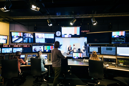Group Of Students Working In TV Studio 1127729244