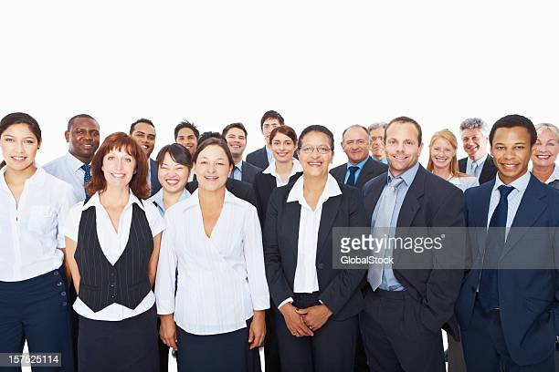 Group of successful business executives standing together