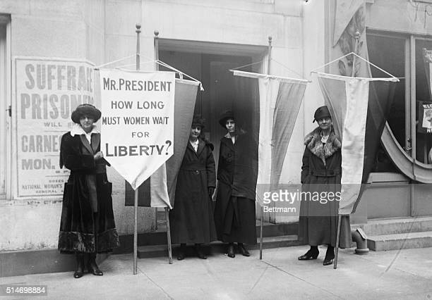 A group of suffragists picket outside the Metropolitan Opera House From left to right Ella C Thompson Alex Shields Alice Paul and Wilma Keams