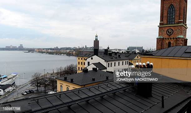 A group of Swedish and international tourists listen to their guide during a Rooftop tour viewing Stockholm's Kungsholmen from top of a building at...