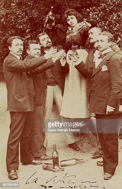 A group of Swiss absinthe drinkers toast the Green Fairy just prior to its prohibition