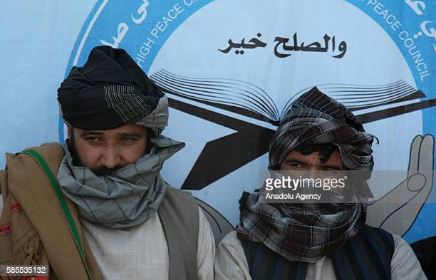 A group of Taliban members are seen as they surrender to the authorities in Herat Afghanistan on August 03 2016