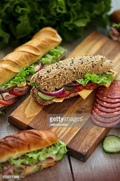 group of tasty sandwiches