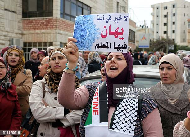 A group of teachers stage a demonstration demanding the release of their colleagues who has taken under custody on February 18 2016 in front of the...