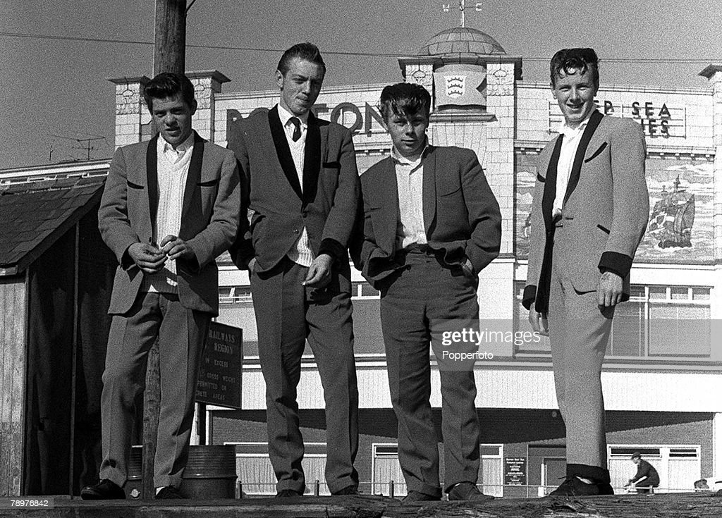 1962. A group of Teddy Boys on the front at Lowestoft. : News Photo