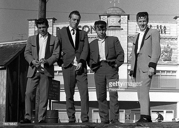 1962 A group of Teddy Boys on the front at Lowestoft