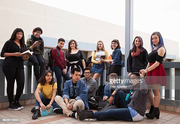 Group of teen students at school.