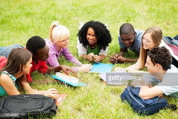 Gruppe von teenage Freunde liegen auf dem Rasen