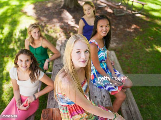 Group of teenage girls outdoors in park