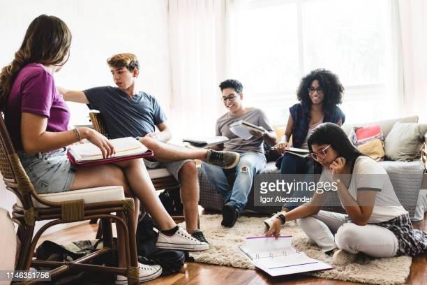 group of teenagers studying at home - sentar se imagens e fotografias de stock