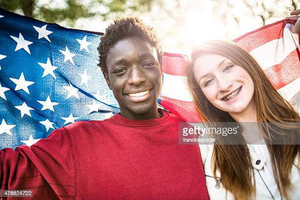 group of teenagers supporters outdoors - patriotism stock photos and pictures
