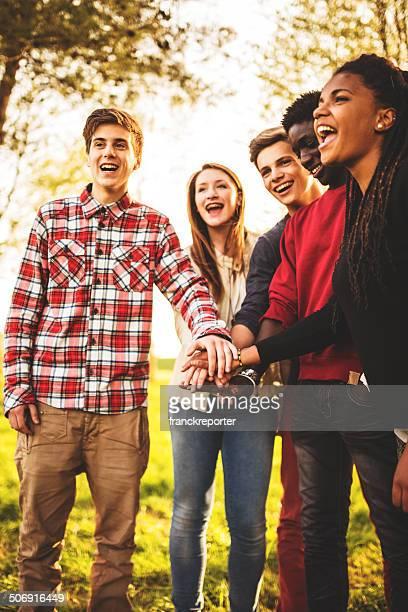 Group of teenagers volunteer happiness