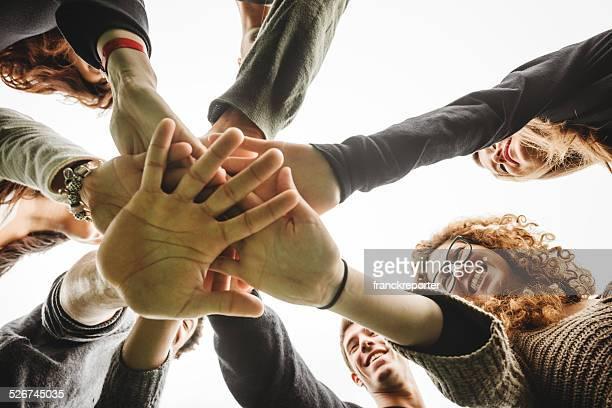 Group of teenagers volunteer
