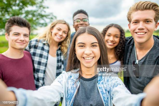 Group of teens selfie