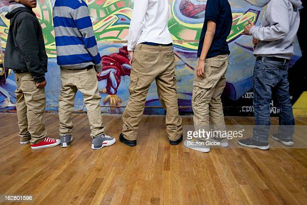 A group of teens talk about sagging their pants at the Dorchester Youth Collaborative in Dorchester Mass on Monday Feb 4 2013