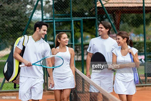 group of tennis players - doubles stock photos and pictures