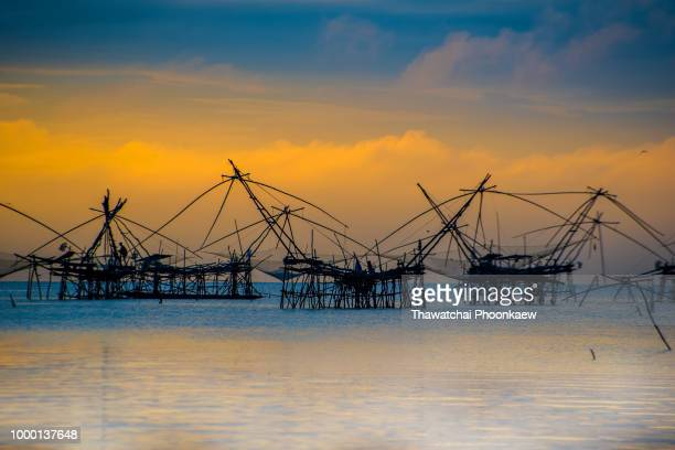 group of Thai tradition  fish trap machine in Lake
