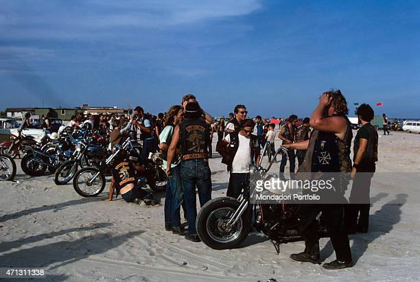 A group of the Bandidos gang American bikers the historic rivals of the Black Angels photographed on a beach Texas September 1969