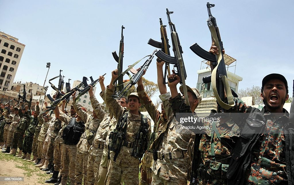 Saudi-led operations against Houthis protested in Sanaa : News Photo