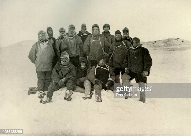 A Group of the Shore Party at the Winter Quarters [Standing Joyce Day Wild Adams Brocklehurst Shackleton Marshall David Armitage Marston Sitting...