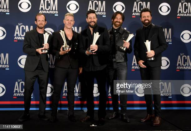 Group of the Year award winners Old Dominion pose in the press room during the 54th Academy Of Country Music Awards at MGM Grand Garden Arena on...