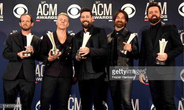 Group of the Year winners Old Dominion pose in the press room during the 54th Academy Of Country Music Awards at MGM Grand Garden Arena on April 07...