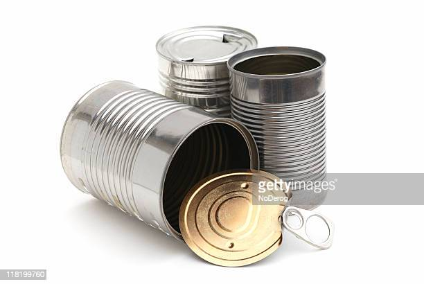 Group of three empty metal cans