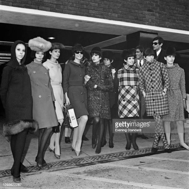 Group of top models at London Airport for a charity fashion gala held by designer Pierre Cardin at the Commonwealth Institute in London, UK, 23rd...