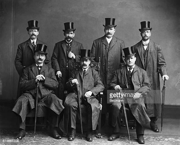 Group of tophatted gentlemen probably political delegation to Washington DC Ca1895 Photograph