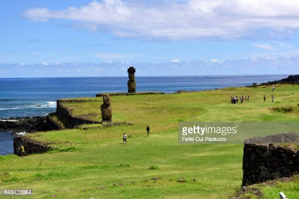 Group of tourist at Ahu Tahai Moai site of Hanga Roa in Easter Island of Chile