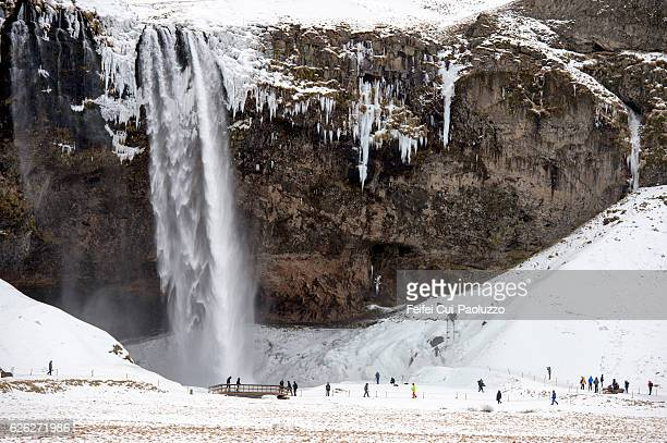 Group of tourist at Seljalandsfoss in the southern region of Iceland