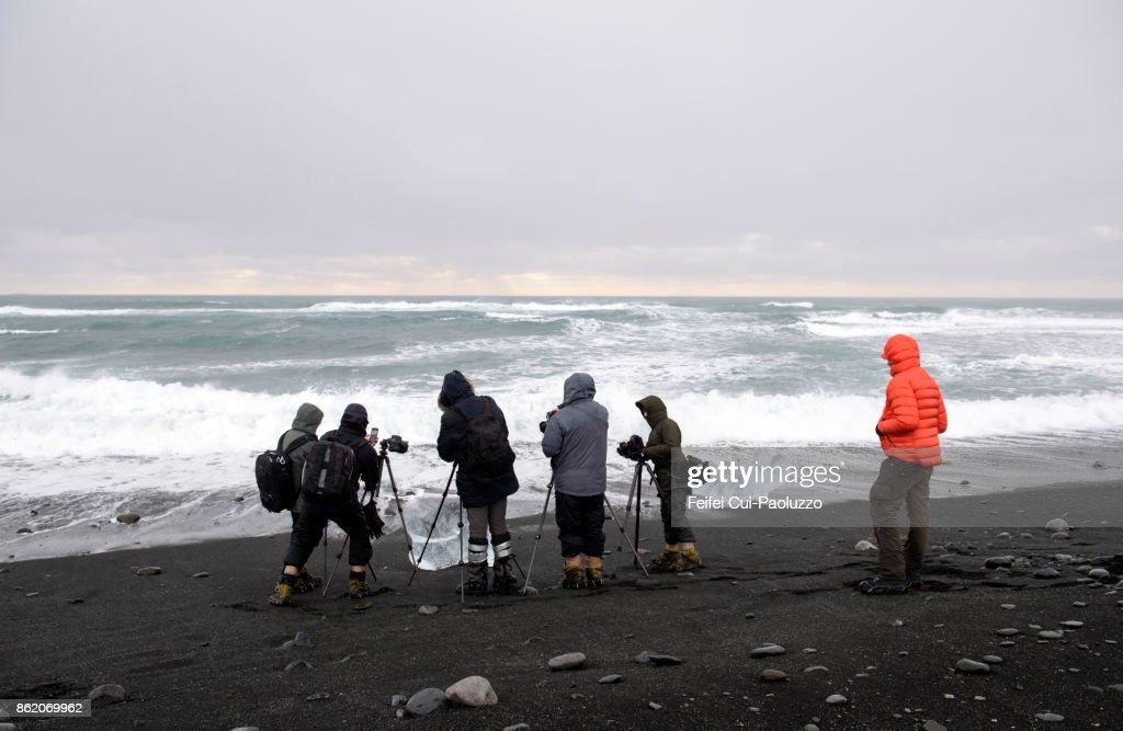 Group of tourist making photo at beach at Jökulsarlon, East Iceland : Stock-Foto