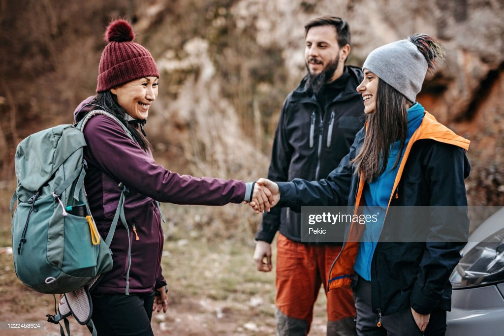 Group of tourist preparing for new adventure : Stock Photo