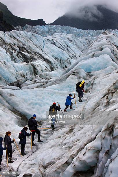 A group of tourists climb up Fox Glacier on the west coast of South Island New Zealand The guide at the front makes steps using an ice axe and cloud...
