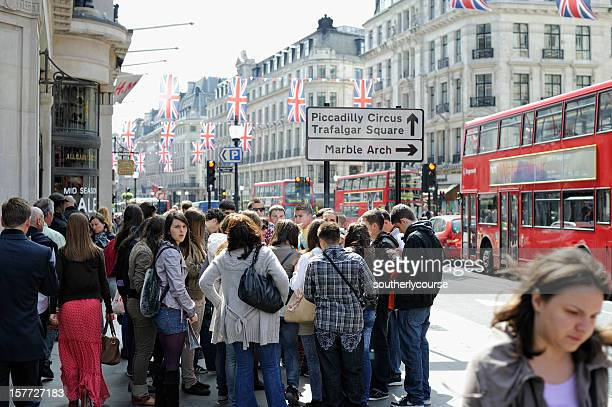Group of Tourists on Regent Street London
