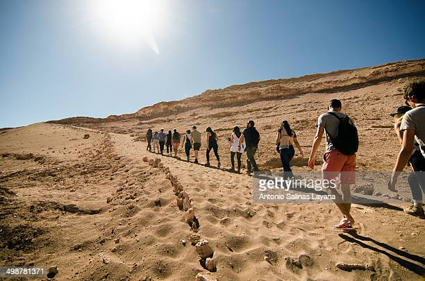 CONTENT] A group of tourists up to the viewpoint of the Valley of the Moon the path is located between ancient dunes and is part of the most popular...