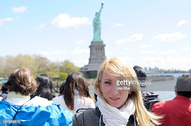 Group Of Tourists,Statue of Liberty Ferry,NYC.