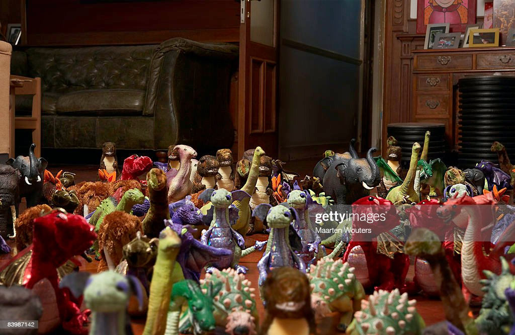 Group of toys in gathered around : Stock Photo