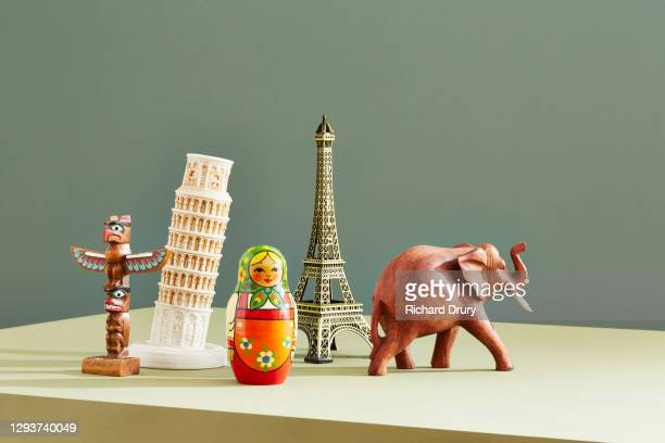 a group of travel souvenirs - carving craft product stock pictures, royalty-free photos & images