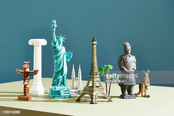 a group of travel souvenirs - richard drury stock pictures, royalty-free photos & images