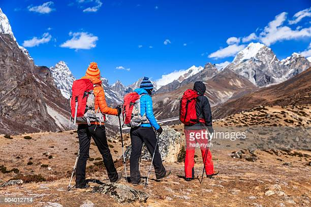 Group of trekkers in Himalayas, Mount Everest National Park