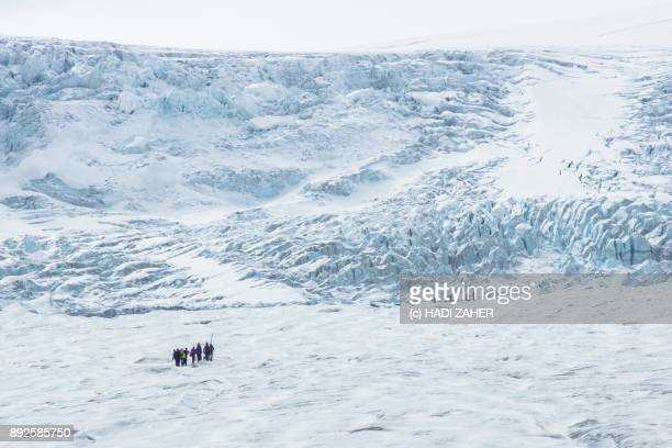 a group of trekkers on athabasca glacier | columbia icefield | alberta | canada - columbia icefield stock pictures, royalty-free photos & images