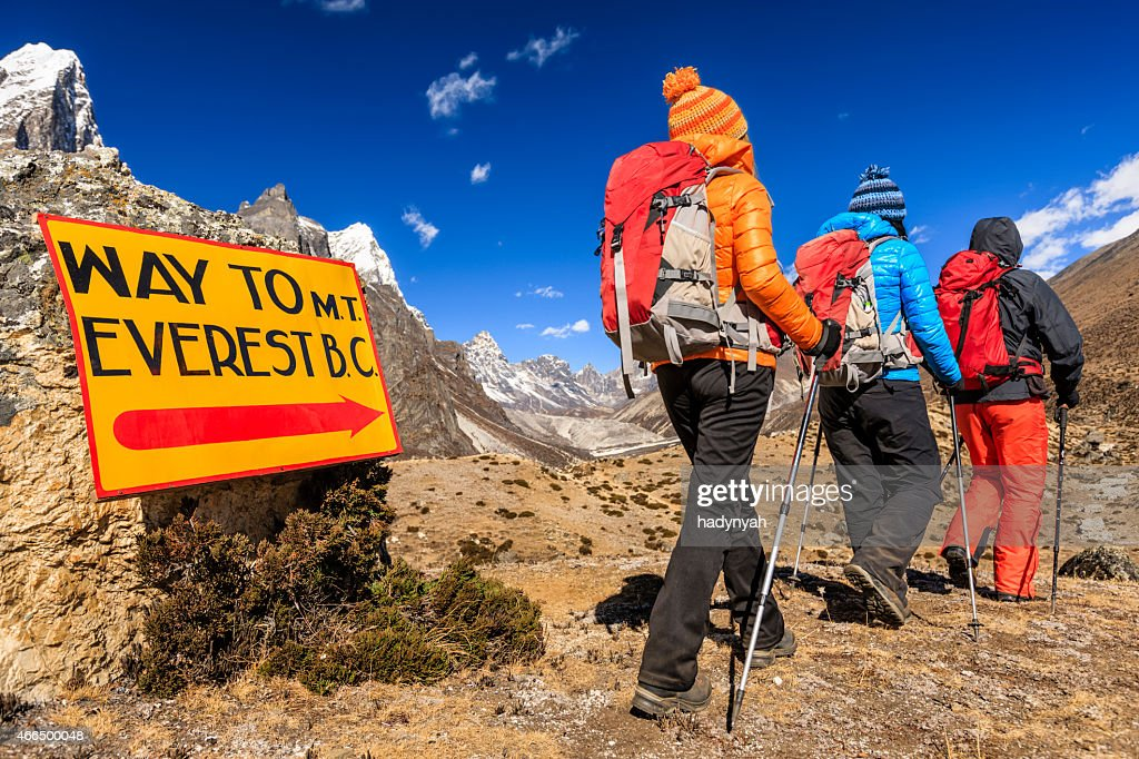 Group of trekkers on the way to Everest Base Camp : Stock Photo